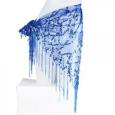 Beautiful Belly Dance Triangle Fringe Hip Scarf Waist Chain Costume Belt Sapphire Blue