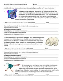 Darwin Natural Selection Worksheet | EVOLUTION | Pinterest ...