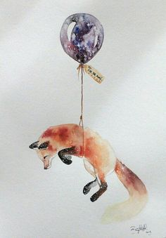 """""""Goodbye may seem forever, and farewell is like the end. But in my heart is a memory, and there you will always be~..."""" #fox #galaxy #night #balloon #art #artist #artwork #artjournal #watercolor #painting #painting #animals Fox Painting, Water Color Painting Easy, Fox Watercolour, Penguin Watercolor, Watercolor Fox Tattoos, Watercolor Paintings, Foxes, Fox Tattoo Men, Loki Tattoo"""