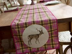 Katie Alice Highland Fling Tartan Stag Cotton Table Runner With Lace Trim