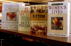 Remarkable women in history books on display at the Lester Public Library.