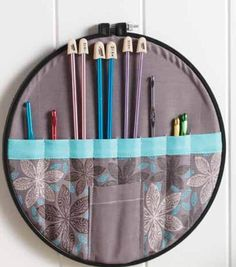 I like this.  THX Jo-Ann Fabric&Craft Keep knitting needles and crochet hooks organized with this oval needle holder!