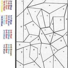 Blue-red color by number - Coloring page - COLOR by NUMBER coloring pages - CALCULATION color by numbers - BEGINNER color by number