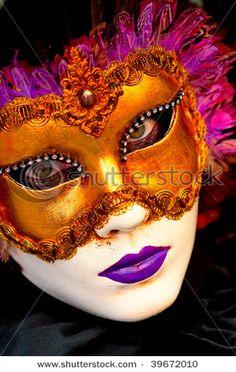 Purple and Gold Mask Makeup Face Art Masks