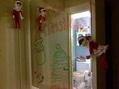 Shelf elf Christmas mirror message