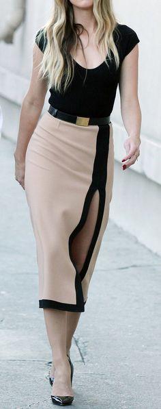 black and beige dress