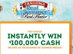 * Ends 9/8/17 - Enter for a chance to win a check for $10,000 or 1 of 100 Good Cook prize packs or 1 0f 1,000 vouchers for a  free Challenge Butter product or 1 of 1,000 vouchers for a free Langer's juice product or 1 of 1,000 vouchers for a free Challenge Cream Cheese product.