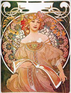 Alphonse Mucha Daydream Reverie Art Nouveau Lady  ' von Masterpieces Of Art bei artflakes.com als Poster oder Kunstdruck $15.24