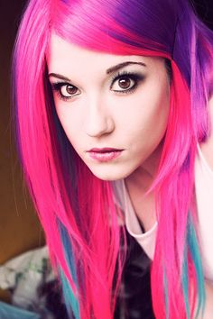 Bright pink, purple and blue #hair #bright #dyed