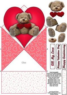 Teddy Bear Love Diamond Top Spring Card on Craftsuprint designed by Kelly Barker - A diamond top spring card with a lovely image of a teddy bear holding two hearts. The design comes with decoupage elements and 4 sentiment tags to choose from. A simple yet effective folded card design, with instructions on the sheet. A perfect card for valentines day, an anniversary or just to show someone how much you care. - Now available for download!