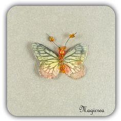 STICKER PAPILLON SOIE 3.5 CM VERT ORANGE - Boutique www.magicreation.fr