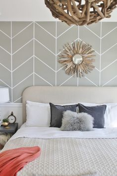I did a little neutral refresh of my master bedroom headboard so I thought I would share a Mini Master Bedroom Makeover I did in less than 30 min. Bedroom Wall Designs, Bedroom Wall Colors, Home Decor Bedroom, Modern Bedroom, Bedroom Ideas, Herringbone Wall, Diy Wall Painting, Master Bedroom Makeover, New Room