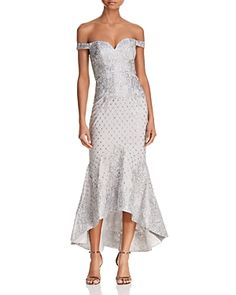 18f436e57ed54 Bariano - Metallic Off-the-shoulder Sequin Lace Gown - Lyst