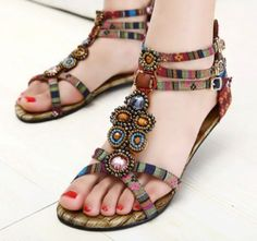 Boho Summer Womens Flat Ethnic Beaded Ankle Strap Beach Roma Sandals US4.5-9.5 in Clothing, Shoes & Accessories, Women's Shoes, Sandals & Flip Flops | eBay