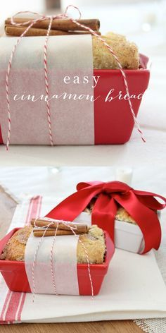 An easy Cinnamon Bread Recipe that is perfect for breakfast, snacks and gifting to friends, neighbors and co-workers! This Christmas bread makes a beautiful gift wrapped into inexpensive giftable loaf pans. Holiday Bread, Christmas Bread, Christmas Food Gifts, Christmas Breakfast, Noel Christmas, Holiday Baking, Homemade Christmas, Christmas Desserts, Christmas Cookies