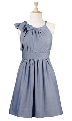 I want A) somewhere to wear this, and B) to look good wearing it. (Bow tied neck chambray dress from eShakti)
