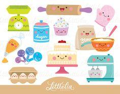 baking kawaii baking clipart cute cake by LittleLiaGraphic