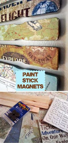 Crafts to Make and Sell - Decoupage Paint Stick Magnets - Cool and Cheap Craft Projects and DIY Ideas for Teens and Adults to Make and Sell - Fun, Cool and Creative Ways for Teenagers to Make Money Selling Stuff to Make Diy Projects To Try, Craft Projects, Paint Stick Crafts, Map Crafts, Crafts With Maps, Beer Crafts, Do It Yourself Inspiration, Painted Sticks, Crafts To Make And Sell