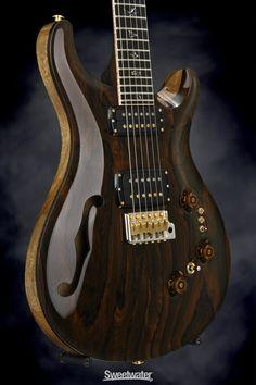 PRS: Semi-hollowbody Electric Guitar with Black Korina Body, Ziricote Top, Ziricote Neck, Ebony Fretboard, 2 x Humbucking Pickups, and Piezo-equipped Tremolo - Natural