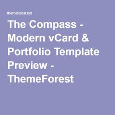The Compass - Modern vCard & Portfolio Template Preview - ThemeForest