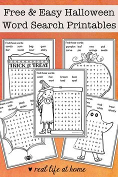 These five easy Halloween word search printables for kids are wonderful activities for elementary-aged kids. They each have 8 words and coloring areas. Halloween Words, Easy Halloween, Holidays Halloween, Halloween Themes, Halloween Crafts, Halloween Bags, Halloween 2016, Halloween Party, Pumpkin Coloring Pages