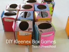 DIY Kleenex box (math) games. Each child has a box they fill with math tokens. Number cards are on the side for practicing counting, etc. Can also color sort, etc.