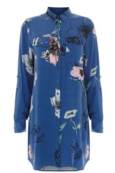 Oversize Floral Shirt Dress