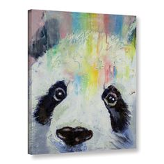 Michael Creese's Panda Rainbow, Gallery Wrapped Canvas is a high-quality canvas print depicting an adorable panda and a colorful rainbow in the artist's signature vibrant, oil impasto style.