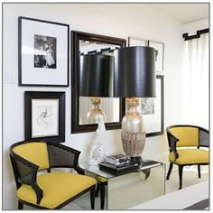 set of black cane chairs upholstered yellow