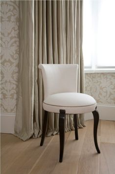 Bedroom Inspiring Home Furniture Design Of Small White Padded Chair Designed With Cozy Round Seat Pad And Black Legs