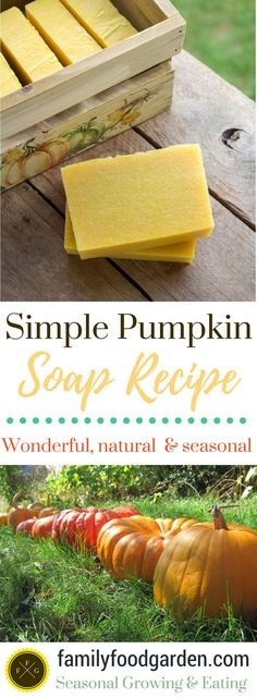 Simple and natural handmade soap recipes. Seasonal fall pumpkin soap recipe. Recipes for how to make simple handmade soaps.