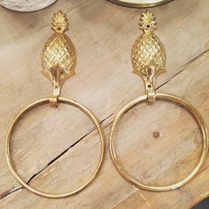 """Large brass pineapple towel rings. 10"""" $24 each or $45 for both. Leave in the comments if you want one or the pair. Leave email and zip to purchase. #brasspineapples #shopthealist #brassisback"""