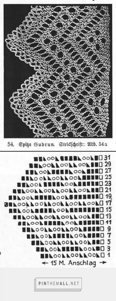 """""""Spitze Gudrun"""" from an antique lace knitting book by Marie Niedner. Note the crochet finishing visible in the photo (plate).  Odd rows (right side) charted, all even rows (wrong side) knit across."""