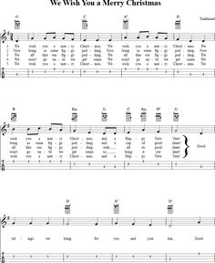 We Wish You a Merry Christmas Ukulele Tab Page 1. View the whole song at http://chordzone.com/music/ukulele/we-wish-you-a-merry-christmas/. PDF download available.