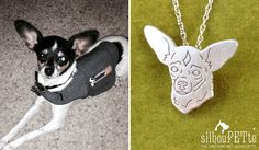 Custom pet silhouette jewelry by silhouPETte. Great gift for Christmas, birthdays, and memorial keepsakes for the dog-loving-lady in your life! www.silhouPETte.com
