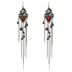 Garnet accented stones in reference to the sunset in Africa. Siyabona Gunmetal Sunset Chandelier Earring