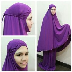 Muslimah Prayer Dress HIjab Lycra Comfortable Non Slippery 2 Pieces Dark Purple #Handmade #HijabsNiquabs
