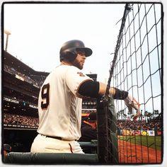 Brandon Belt studies the pitcher  #VoteBelt #WeAreSF #WeAreGiant #attpark…