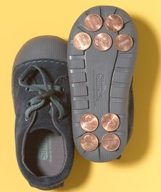 Encourage fancy footwork. Glue coins to the soles of an old pair of your child's shoes for a no-commitment tap-dancing trial.