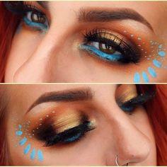 Blue eyeliner, terra-cotta eyeshadow, and a touch of gold to transform into Pocahontas. If You Love Disney, These Magical Makeup Looks Will Make You Swoon Makeup Geek, Makeup Inspo, Makeup Art, Makeup Inspiration, Beauty Makeup, Eye Makeup, Hair Makeup, Gold Makeup, Costume Pocahontas