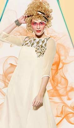 Fashionable Beautiful Cream Georgette Kurti Best For Online Shopping