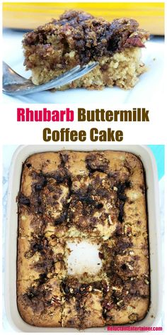 Rhubarb Buttermilk Coffee Cake Recipe for summer hosting and overnight guests #breakfast #breakfastcake #coffeecake #rhubarbcake #rhubarb via @sandycoughlin
