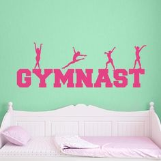 Gymnast Word Art Wall Decal | Wall Decal World | Available in 36 colors.