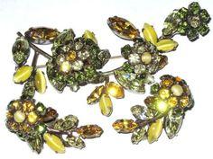 SCHREINER-Trembler-Green-Yellow-Rhinestone-Spray-Pin-Earring-Set