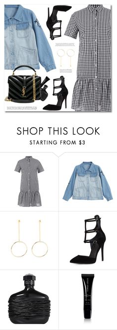 """How to Style: Checked Ruffles Shirt Dress"" by defivirda ❤ liked on Polyvore featuring Kendall + Kylie, John Varvatos, Giorgio Armani and Yves Saint Laurent"