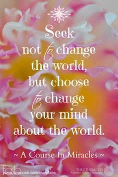Seek not to change the world