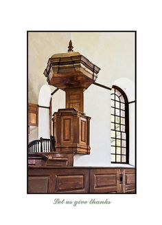 Hand carved cherry pulpit in Historic Christ Church, Weems, VA.