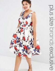 Chi Chi London Plus Bloom Printed Prom Dress