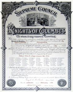 Knights of Columbus Council Charter Knights Of Columbus, Columbus Day, Knights Templar, Charity, Catholic, Religion, Faith, Christian, Activities
