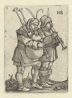 Twee muzikanten met fluit en doedelzak, Hans Sebald Beham, 1537
